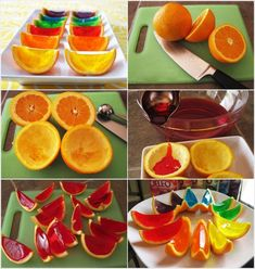 Orange Jelly Shots: Cut oranges in half and scoop out their flesh. Mix jelly in hot water and pour in each orange cup one. Let them set in fridge and cut into wedges when ready. Healthy Eating Tips, Healthy Nutrition, Fun Drinks Alcohol, Jelly Shots, Good Food, Yummy Food, Vegetable Drinks, Creative Food, Delicious Desserts