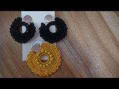 ARETES EN CROCHET Y MURANO - YouTube Crochet Jewelry Patterns, Crochet Earrings Pattern, Crochet Accessories, Knitting Patterns, Crochet Leaves, Crochet Flowers, Tatting Jewelry, Crochet Art, Micro Macrame