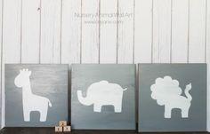 Nursery animal wall art using wood, paint & a stencil.