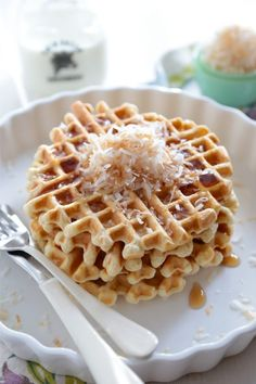 Toasted Coconut Buttermilk Waffles are crispy, and fluffy and the best way to start your weekend! Easy Waffle Recipe, Waffle Recipes, Brunch Recipes, Breakfast Recipes, Breakfast Ideas, Pb2 Recipes, Great Recipes, Snack Recipes, Family Recipes