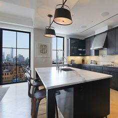 Lair International pinned this modern kitchen in Manhattan. Credit for the image goes to The Corcoran Group.