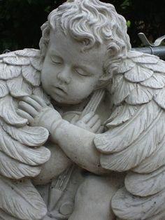 Beautiful Angel Cherub Concrete Statue on Stand by CastStone, $60.00