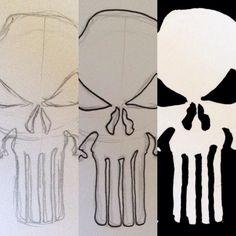 Making of #Punisher  #marvel #comics #skull #blackandwhite #black #white #vigilante #netflix  #wip #pencil #process