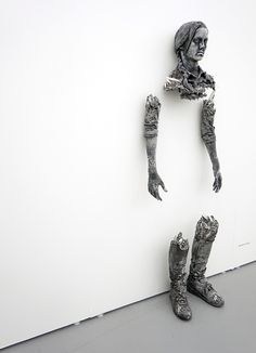 daniel arsham forms broken figure from crystal and volcanic ash