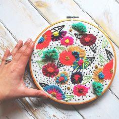 Colorful hoop art by Katy Biele