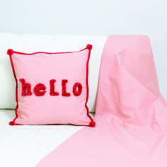 """Hello, is it me you are looking for? Create your own """"Welcome"""" cushion for your favourite guests! 1. Creative material: creative fabric, mini pompom maker, dressmaking scissors Xact """"Professional"""", trick marker, tape maker, spring... Applique Cushions, Patchwork Cushion, Fabric Strips, Red Fabric, Free Sewing, Hand Sewing, Sewing Projects, Diy Projects"""
