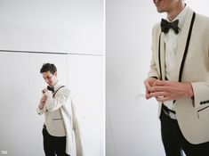 For a Black and White Wedding a white tuxedo jacket with black trim