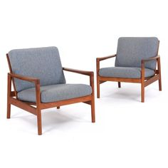 Hans Olsen: A pair of teak easy chairs. Loose cushions in seat and back upholstered with grey melange wool. Scandinavian Chairs, Olsen, Denmark, Teak, Accent Chairs, Cushions, Wool, Grey, Furniture