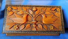 This beautiful folk art keepsake or jewelry box was made in 1874 by a convict of the State Penitentiary in Laramie Wyoming.