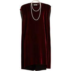 MM6 Maison Margiela Faux pearl-embellished tie-waist velvet dress ($535) ❤ liked on Polyvore featuring dresses, burgundy, velvet dress, cap sleeve short dress, cap sleeve dress, burgundy dress and embellished dress