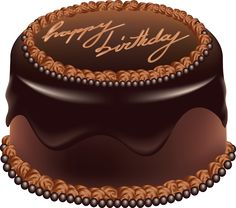 Chocolate Cake Happy Birthday Art PNG Large Picture