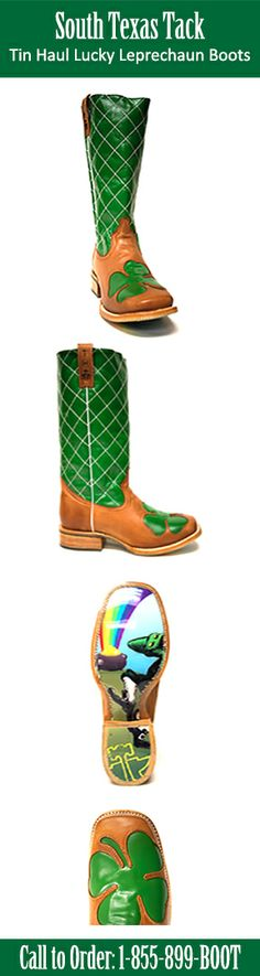 Tin Haul Lucky Leprechaun Cowboy Boot | Make sure to get your very own pair of #StPattysDay Cowboy Boots before they're all gone! These awesome boots are only available to be special ordered for a limited time and then they're gone forever! Call 1-855-899-BOOT now to get your own limited edition green leprechaun boots! | SouthTexasTack.com #CowboyBoots #leprechaun #StPatricksDay #GreenBoots #WearGreen #FourLeafClover