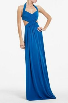 BCBG Jordana Cutout Ocean Blue Long Dress