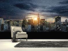 Gotham City Skyline, The Dark Knight Rises wall mural room setting