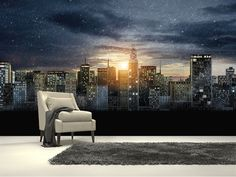 Gotham City Skyline, The Dark Knight Rises wall mural room setting