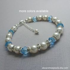 Light Blue Bridesmaid Bracelet, Personalized Bridesmaid Gift, Swarovski White Pearl and Aquamarine Crystal Bracelet, Maid of Honor Gift