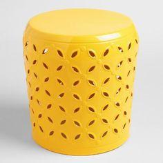 One of my favorite discoveries at WorldMarket.com: Lemon Yellow Metal Samara Drum Stool