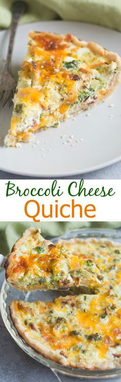Broccoli Cheese Quiche made in my favorite homemade pie crust. Family and… I always like quiche - I'll have to try it