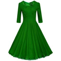 Women's Vintage Sweetheart Short Sleeve Knee Length Swing Bridesmaid... (33 BRL) ❤ liked on Polyvore featuring dresses, green dress, knee-length dresses, vintage green dress, vintage dresses and short-sleeve dresses