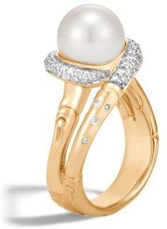 65001e6a2 John Hardy Bamboo Freshwater Pearl & Diamond Ring Gold Pearl Ring, Pearl  Jewelry, Jewelry