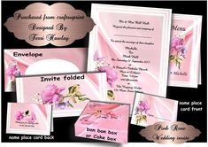 This is a beautiful full set of wedding stationary, including invitation, place card, with a thank you on the back, a menu card , the invite has 2 sides, when one side is printed turn over and print the other side. the envelope is also included, and a box that can be used for cake or table gifts.