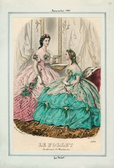In the Swan's Shadow: Le Follet, December 1861.  Civil War Era Fashion Plate