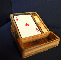 Wooden box with wooden #dice & #cards #handmade in #Thailand! #fairtrade #games