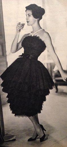 "Jean Patou- 1957 Black lace ""pineapple"" strapless dress with black satin belt. Elle Collections Printemps  March 4, 1957"
