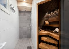 Small sauna and shower … – Kodin Sisustus Saunas, Home Furnishings, Bathtub, Shower, Bathroom, Storage, Closet, Furniture, Home Decor