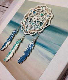 Create this DIY dream catcher using MONO Multi Liquid Glue! Doilies Crafts, Yarn Crafts, Paper Crafts, Lace Doilies, Mixed Media Scrapbooking, Scrapbooking Layouts, Scrapbook Cards, Diy Lace Dreamcatcher, Dreamcatchers