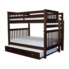 Harriet Bee Treva Full over Full Bunk Bed with Trundle Size: Full Over Full with Full Trundle, Bed Frame Color: Cappuccino Bunk Beds For Girls Room, Adult Bunk Beds, Kids Bunk Beds, Bunk Bed With Trundle, Twin Bunk Beds, Triple Bunk Beds, Modern Bunk Beds, Loft Spaces, Bed Designs