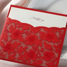 Red Laser Cut Wedding Invitations, Chinese Wedding Invites with Pearls / Ship Worldwide 3-5 Days -- Set of 50 Pcs