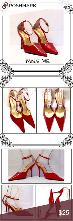 Red Pointy Heels EUC // no scuff marks on sides or tip //  see the 4 picture to notice tiny peels, size of a mustard seed, very easy to fix with red nail polish //  Brand, Miss me // Size 5 1/2 // Red patent leather and red acrylic heels // 2 1/2 Heels // no box. Miss Me Shoes Heels