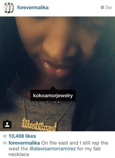 """Actress and TV personality Malika Haqq in our FW 14' """"West Coast"""" necklace."""