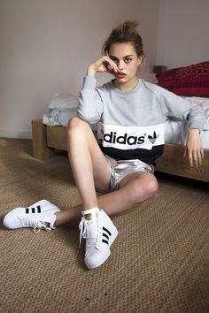 Sporty look featuring adidas Superstar Up. #sneakers