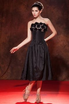 Modest Black A-line / Princess Strapless Prom Dress Tea-length Taffeta Hand Made Flowers - US$108.16 stylish black dress,  #2013 little black dress,  little black dress