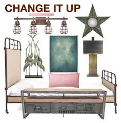 """""""Natural Blend of Industrial and Nature Decor Change it Up"""" by linda-caricofe ❤ liked on Polyvore featuring interior, interiors, interior design, home, home decor, interior decorating, Franklin Iron Works, Sounds Like Home, Cooper Classics and Imax Home"""