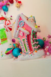 Christmas Decorating Idea Bright colored Gingerbread for a kitchen island or cabinet!