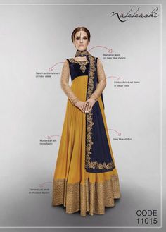 Fabulos mustard art silk and velvet anarkali suit designed with embroidery, zari, resham, stone, lace and patch border work.