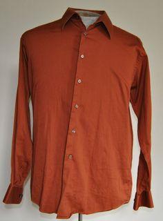 Mens Calvin Klein Shirt Large Solid Orange Cotton Blend Long Sleeve Point Collar #CalvinKlein free shipping auction starting at $10.99