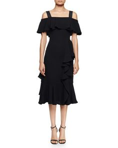 Off-The-Shoulder Dress W/Ruffles, Black by Alexander McQueen at Neiman Marcus.