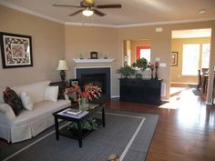 Open, airy living room at Fieldstone