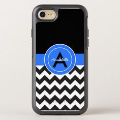Black Blue Chevron OtterBox Symmetry iPhone 8/7 Case #chevron #iphone #cases #protectiion