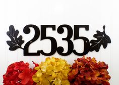 Custom Outdoor House Number Metal Sign with Oak Leaves - 4 Digit, Black, 17.85x5.25,  Address Plaque, Outdoor Sign by RefinedInspirations on Etsy https://www.etsy.com/listing/223116577/custom-outdoor-house-number-metal-sign