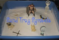 Sand Tray Symbols: Click the photo to see a list of common sand tray symbols. Therapists no longer dissect sand trays and assign specific meaning to every object, but still interesting list to look at Sand Therapy, Therapy Games, Therapy Tools, Therapy Activities, Therapy Ideas, Counseling Psychology, School Psychology, Group Counseling, Counseling Activities