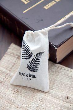 Cute screen printed fabric mini pouch for your wedding souvenir (fern)