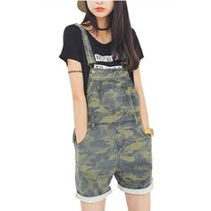 Amazon.com: Yougao Women's Loose Size Denim Camouflage Overalls Shorts... ($28) ❤ liked on Polyvore featuring short overalls