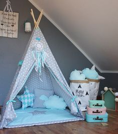 Teepee set Imaginary Friend / Kids /Play /Tent by MamaPotrafi Toddler Teepee, Childrens Teepee, Teepee Kids, Teepee Tent, Play Teepee, Teepees, Baby Bedroom, Girls Bedroom, Bedroom Ideas
