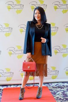 Grace's outfit - fringed suede skirt with black blazer cape and LV coral bag