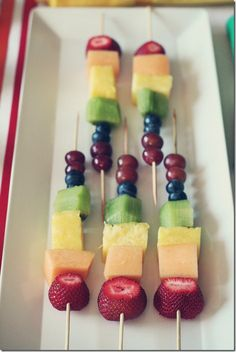 rainbow fruit kabobs, perfect to make during our nutrition unit to illustrate eating a rainbow of colors for good health